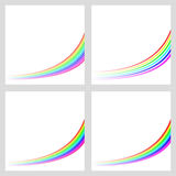 Simple rainbow curved line background set Stock Photos