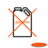 A simple raster line image of a can with glyphosate crossed with an orange cross, a linear icon for an agricultural farm Stock Photography