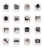 Simple Real Estate Icons Stock Photo