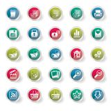 25 Simple Realistic Detailed Internet Icons over colored background. 25 Simple Realistic Detailed Internet Icons  over colored background - Vector Icon Set Stock Photo