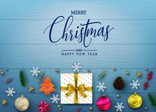 Simple Realistic Holiday Greeting Card in Blue Color Wooden Background with Christmas Elements royalty free illustration