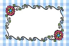 Simple rectangular colored painted vector frame with flowers and Royalty Free Stock Photo