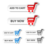 Simple red, blue and grey shopping cart - trolley on white buttons. Rounded labels. Item add to cart and buy now for web page. Stock Photos
