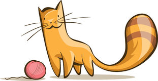 Simple red cat with a tangle of thread Royalty Free Stock Photos