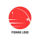 Simple red fishing logo Stock Photography