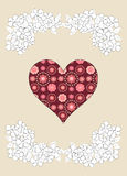 Simple red heart on beige background, illustration Stock Photos