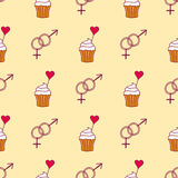 Simple red heart cupcake sharp vector seamless pattern and pink gift color card beautiful celebrate bright emoticon Stock Photos