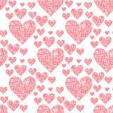 Simple red heart sharp vector seamless pattern background pink color card beautiful celebrate bright red heart emoticon. Simple red heart sharp vector seamless Royalty Free Stock Image