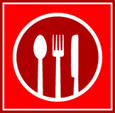 Red restaurant sign with utensil Royalty Free Stock Image