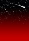 Simple Red Starry Night Sky Background with Falling Star Tail Royalty Free Stock Images