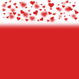 Simple red valentine background. Lovely blurry red heart symbol Valentines day illustration with empty red background for text message royalty free illustration