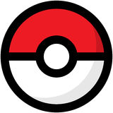 Simple red and white Pokemon logo. EPS8 Royalty Free Stock Photo