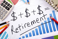 Retirement growth plan, pension fund planning Stock Image