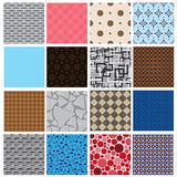 16 simple retro color seamless patterns Royalty Free Stock Images