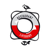 Simple retro-style Lifebuoy. With bird and fish for icon, logo, sign. silhouette vector illustration Royalty Free Stock Photo