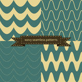 Simple retro wavy seamless patterns Stock Photo
