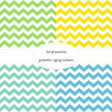 Simple retro zigzag seamless pattern, in four colors, vector stock illustration