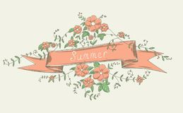 Simple ribbon with flowers. Simple vector vintage flowers with a ribbon. Nice sketchy postcard template Stock Image