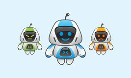 Simple Robot with face expression. Three simple robot with some different face expression Royalty Free Stock Image