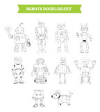 Simple robots doodles set Royalty Free Stock Images