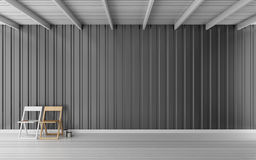 Simple room with metal sheet wall 3d rendering. Wood chair in simple room Stock Image