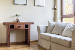 Simple room with oriental table stock photos