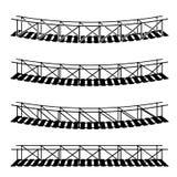 Simple rope suspension hanging bridge black symbol Royalty Free Stock Photo