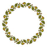 Simple round colorful floral frame, wreath. Vector illustration. stock illustration