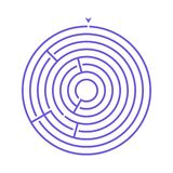 Simple round maze labyrinth game for kids. One of the puzzles from the set of child riddles.  vector illustration