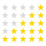 Simple rounded star rating. With outlines makes the stars pop out from background Royalty Free Stock Image