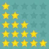Simple rounded star rating. With outlines makes the stars pop out from background. Vector illustration EPS10 Stock Image
