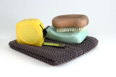 Mens Construction Clean Up Items. Simple and rugged clean up items used by men to clean themselve up from a construction mess royalty free stock photos