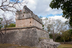 Simple Ruin at Chichen Itza. The Red House or the Temple of Deer, one of the ruins at Chichen Itza, the best preserved archaeological site in Yucatan peninsula Royalty Free Stock Photo