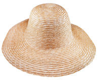 Simple rural straw broad-brim hat. Isolated on white background royalty free stock photo