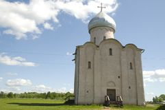 Simple russian church against blue sky Royalty Free Stock Image