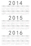 Simple russian 2014, 2015, 2016 year calendar Royalty Free Stock Images
