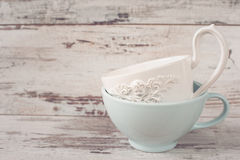 Simple rustic white and blue crockery, empty dishes. Two large bowls each other. Wooden background, vintage, shabby chic, copy spa. Simple rustic white and blue stock image
