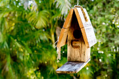 Simple rustic wooden birdhouse hanging against greenery backgrou Stock Image