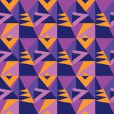 Simple 60s inspired vivid geometric seamless pattern. Geometry stock vector illustration. Repeatable pattern in violet and purple colors for fabric, background Royalty Free Illustration
