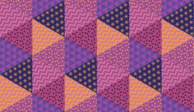 Simple 60s inspired vivid geometric seamless pattern. Geometry stock vector illustration. Repeatable pattern in violet and purple colors for fabric, background stock illustration