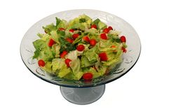 Simple Salad. Crispy lettuce, cherry tomatoes, and red pepper salad Royalty Free Stock Photography
