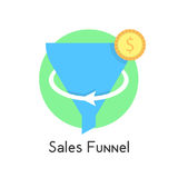 Simple sales funnel in green circle with coin Stock Photos
