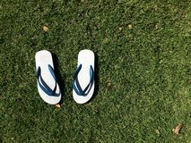 Simple sandal on grass Royalty Free Stock Images