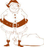 Simple Santa. A simple, yet quirky illustration of Santa that can be used in a variety of applications Stock Image
