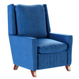 Simple scandinavian style blue armchair with wooden legs. Soft furniture. 3d render Stock Photography