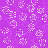 Simple schematic outline white flowers and butterfly on a pink b Royalty Free Stock Image