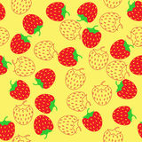 Simple schematic red and outline strawberry Stock Photos