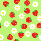 Simple schematic red strawberry and white flowers on a green bac Royalty Free Stock Images