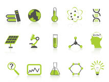 Simple science icons set,green series Royalty Free Stock Images