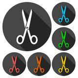 Simple Scissors symbol icon with long shadow. Simple Scissors symbol icons set with long shadow,  icon Royalty Free Stock Photography